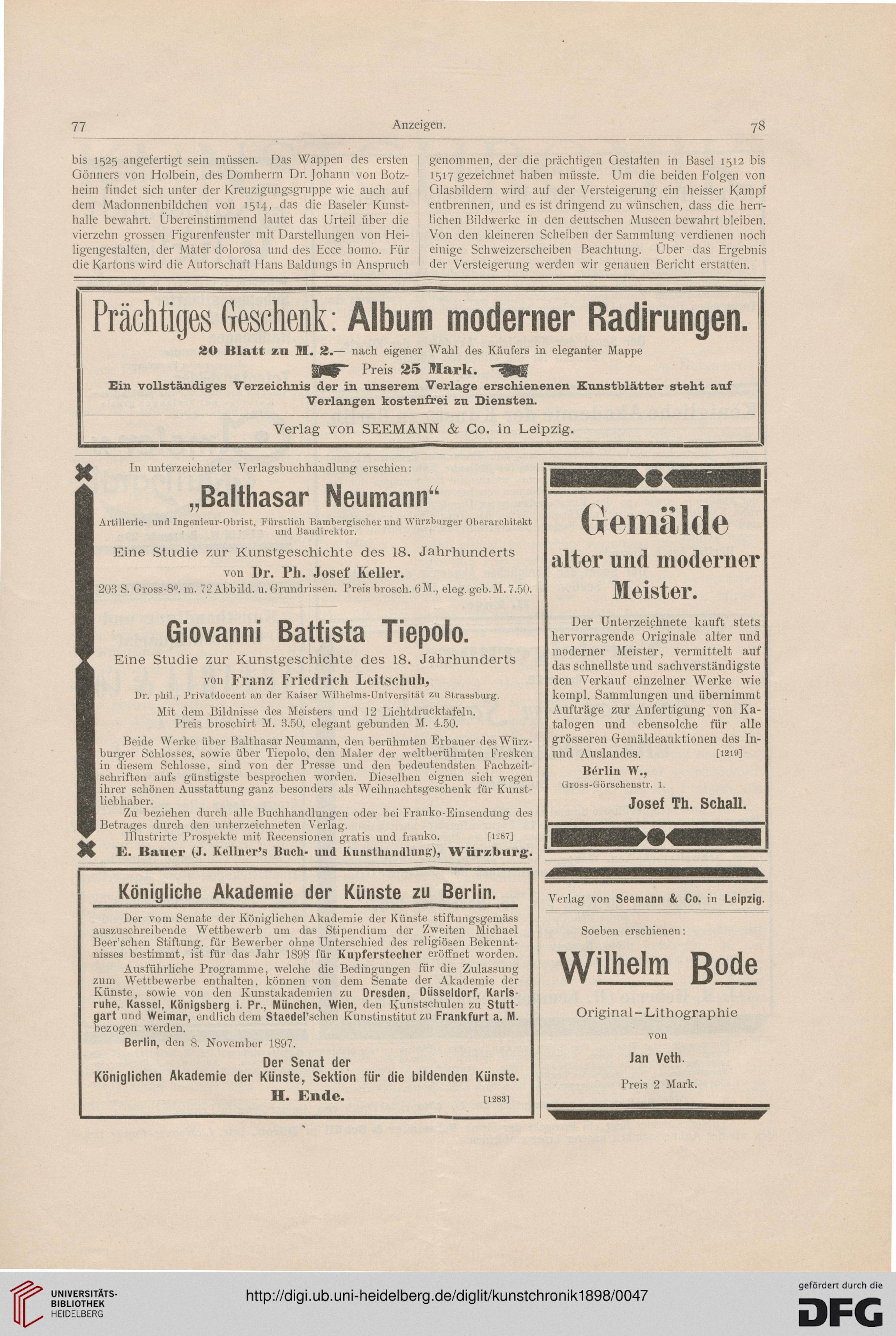 Kunstchronik Wochenschrift Fur Kunst Und Kunstgewerbe N F 9 1898
