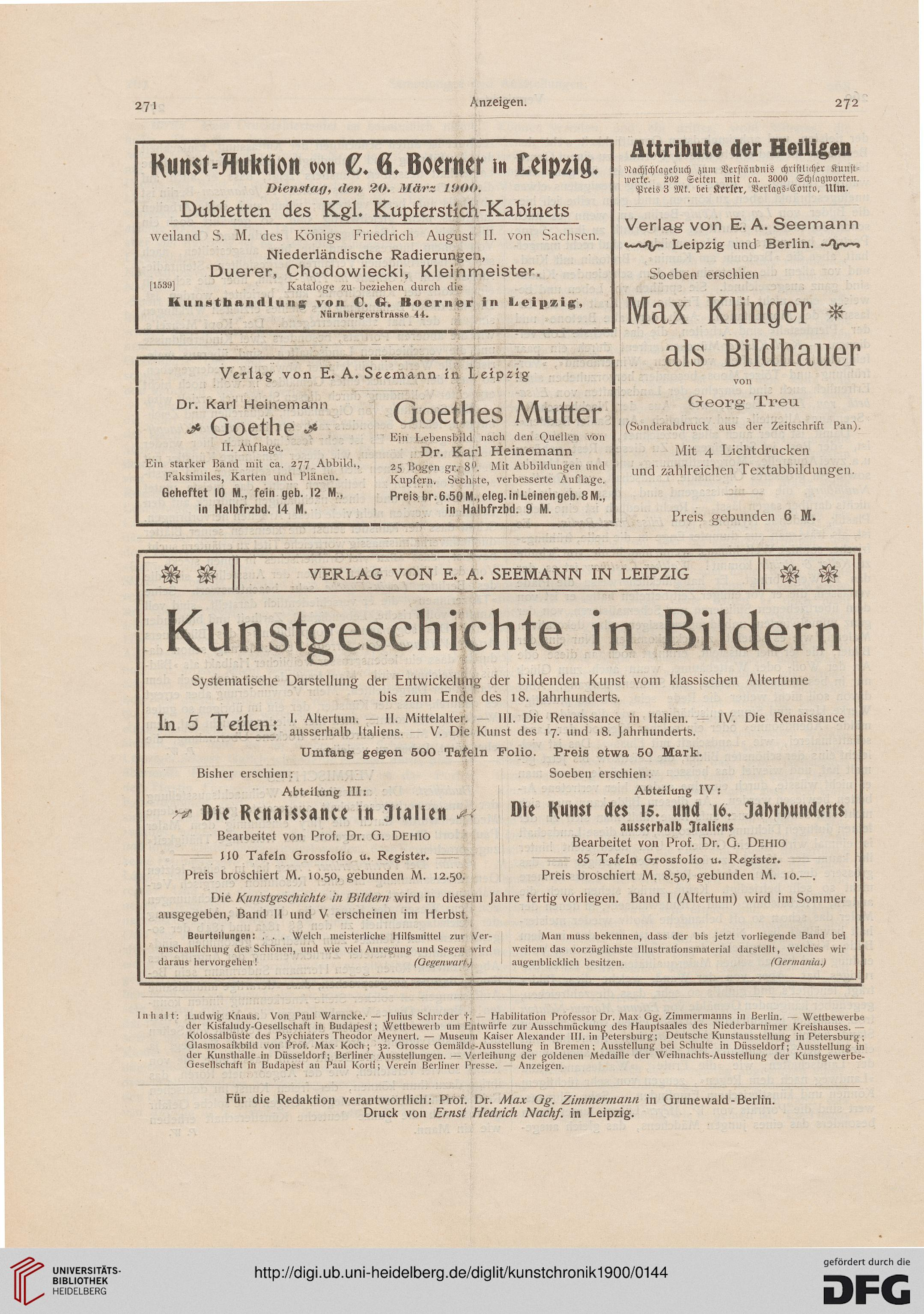 Kunstchronik: Wochenschrift für Kunst und Kunstgewerbe (N.F. 11.1900)