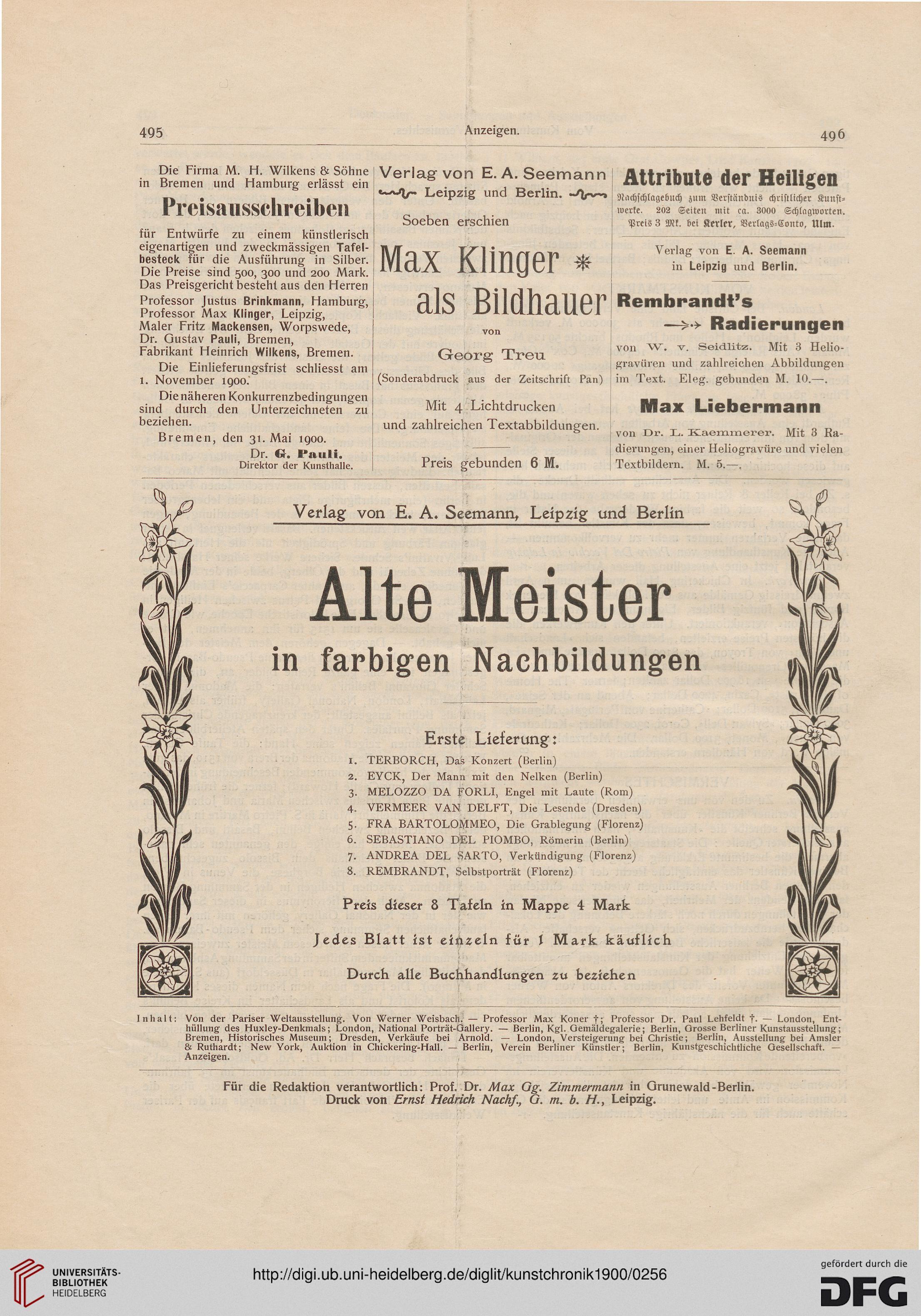 Kunstchronik Wochenschrift Für Kunst Und Kunstgewerbe Nf
