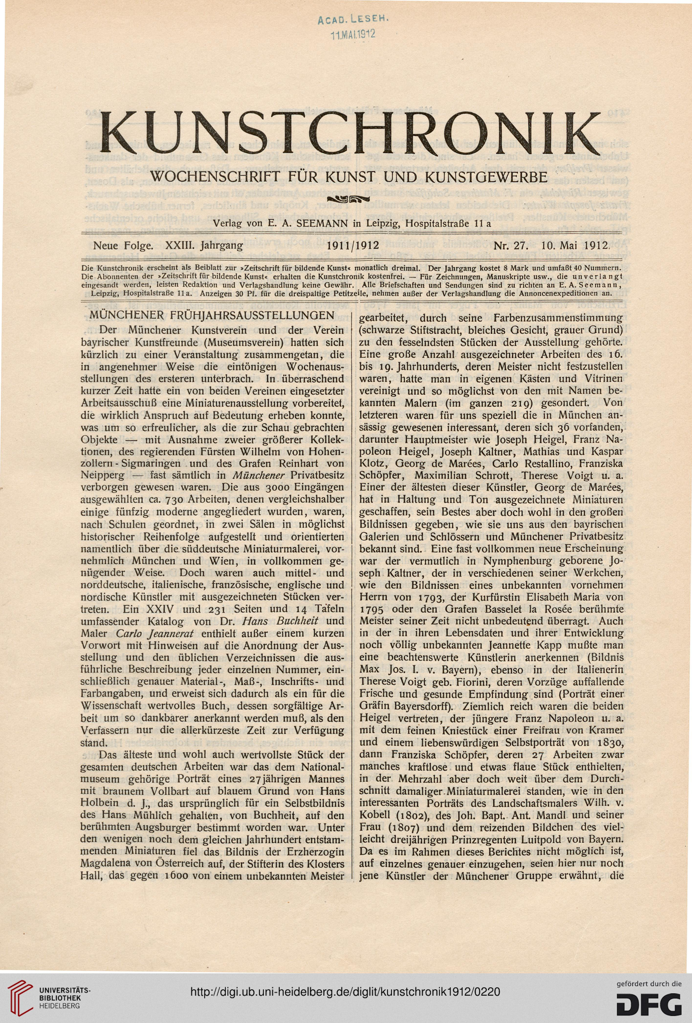 Kunstchronik: Wochenschrift für Kunst und Kunstgewerbe (N.F. 23.1912)