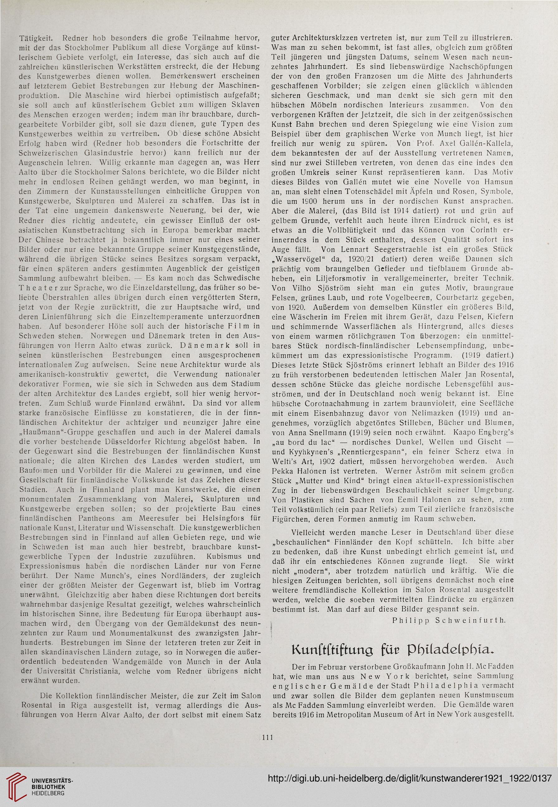 Donath, Adolph [Hrsg.]: Der Kunstwanderer: Zeitschrift für alte und neue  Kunst, für Kunstmarkt und Sammelwesen (3./4.1921/22)