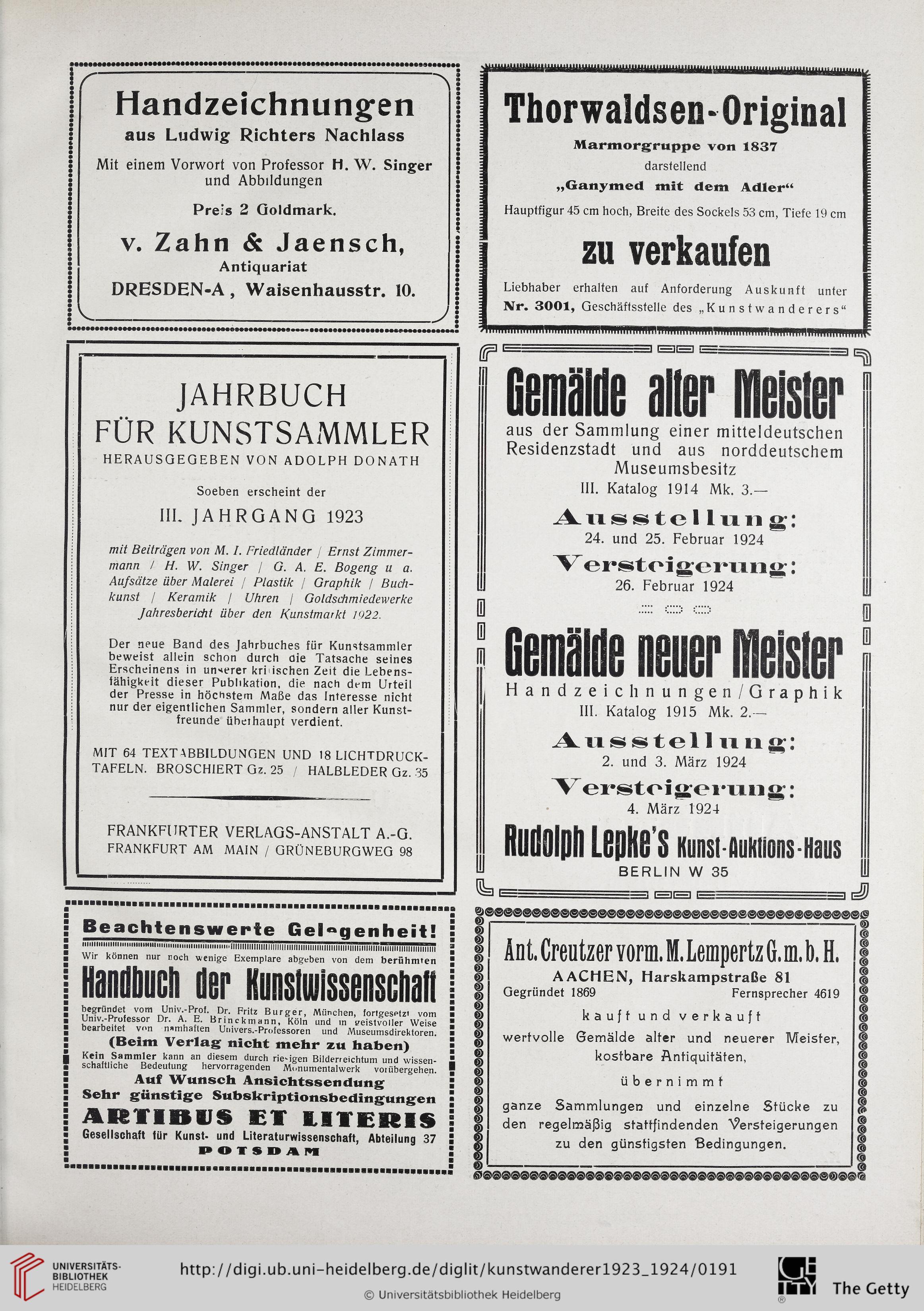 Donath, Adolph [Hrsg.]: Der Kunstwanderer: Zeitschrift für alte und ...