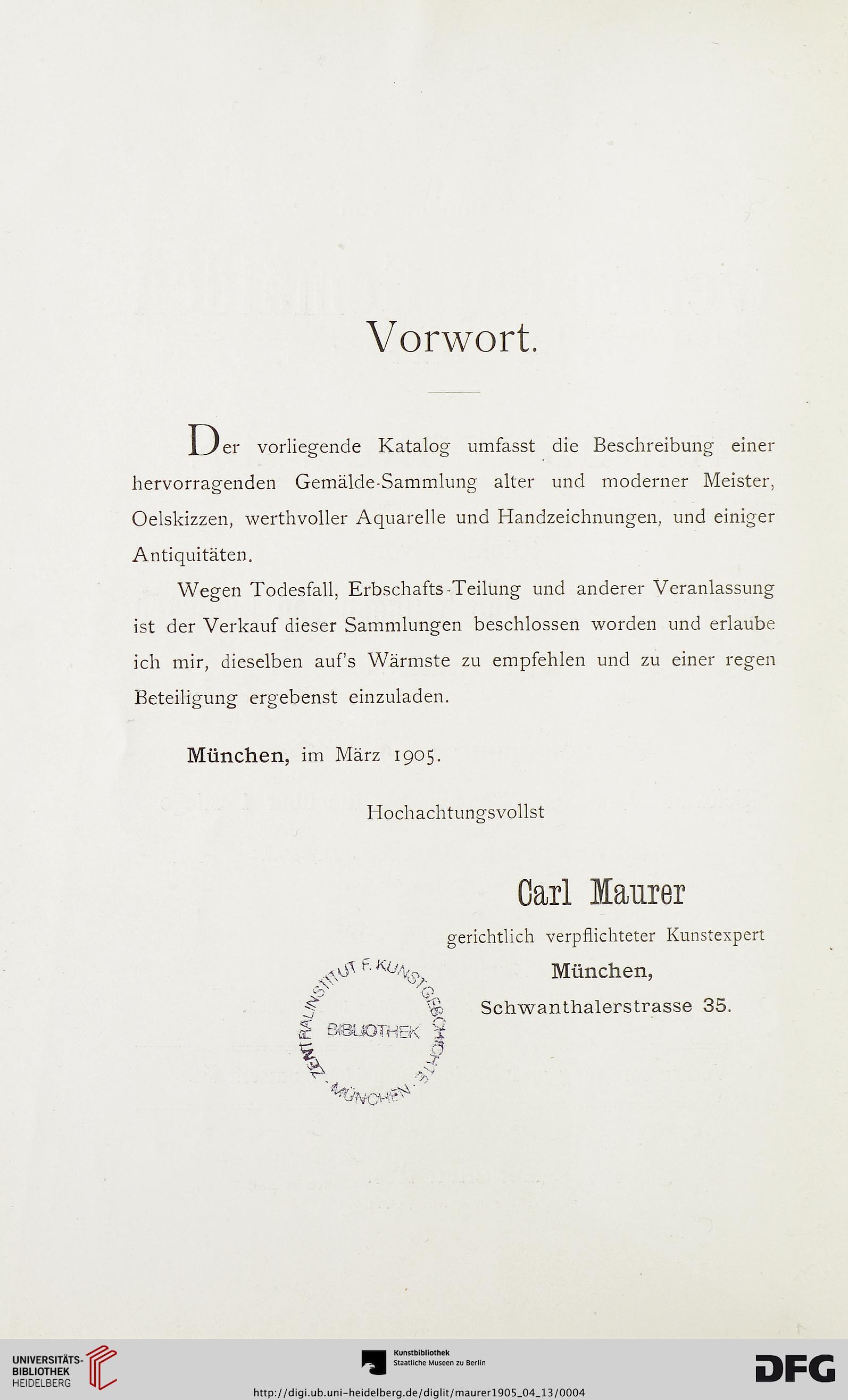 Carl Maurer Firma Hrsg Catalog Einer Sammlung Von Wertvollen