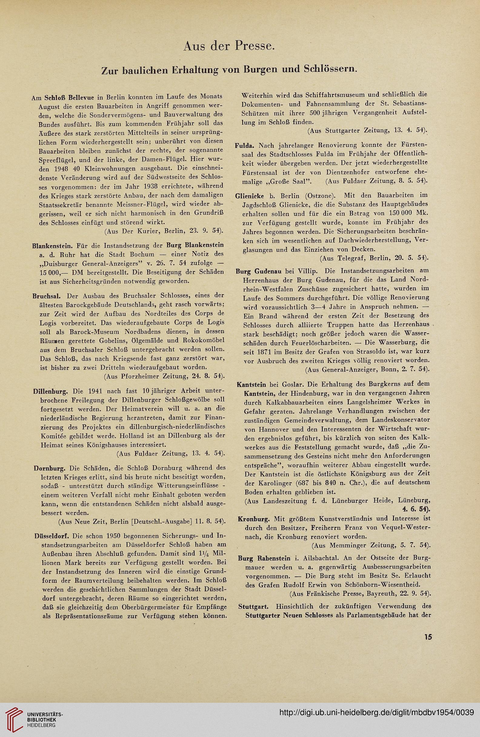 Mitteilungsbl. d. Deutschen Burgenvereinigung e.V. zum Schutze ...