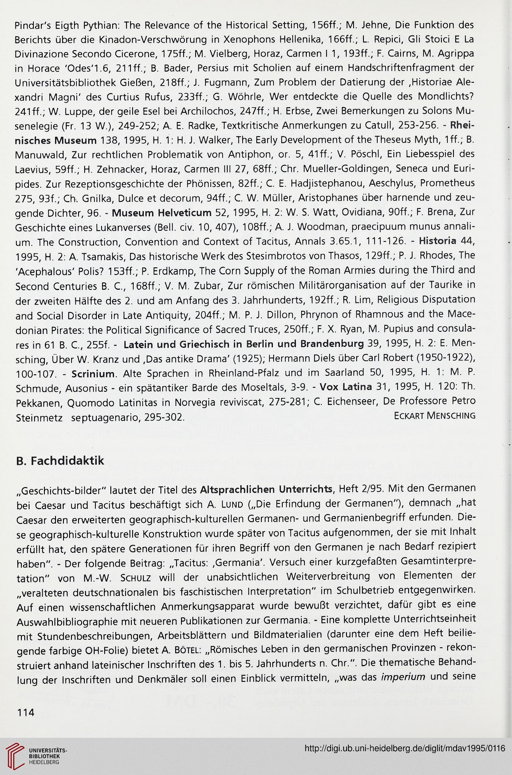 Deutscher Altphilologenverband [Hrsg.]: Mitteilungsblatt des ...
