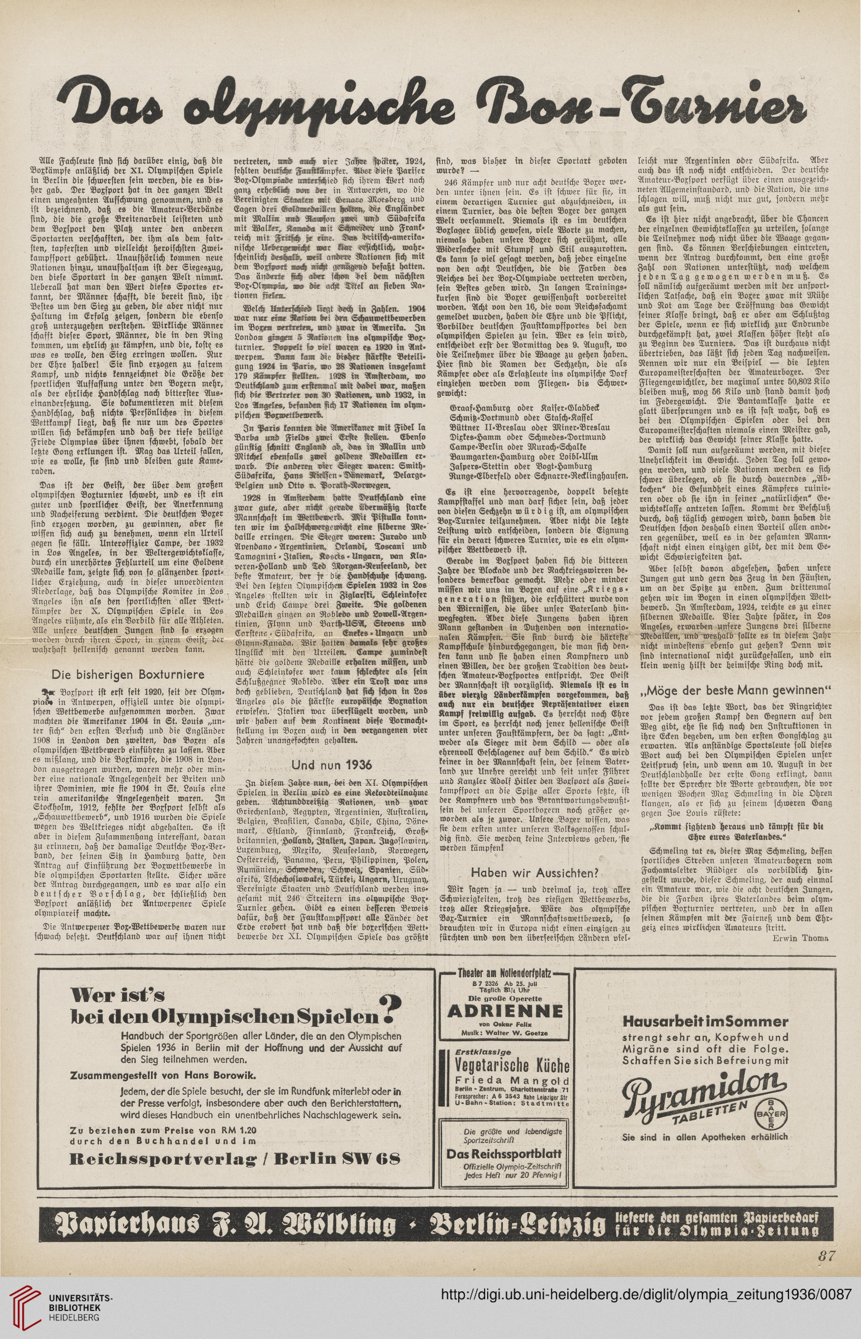 Olympia-Zeitung: offizielles Organ der 11. Olympischen Spiele 1936 ...