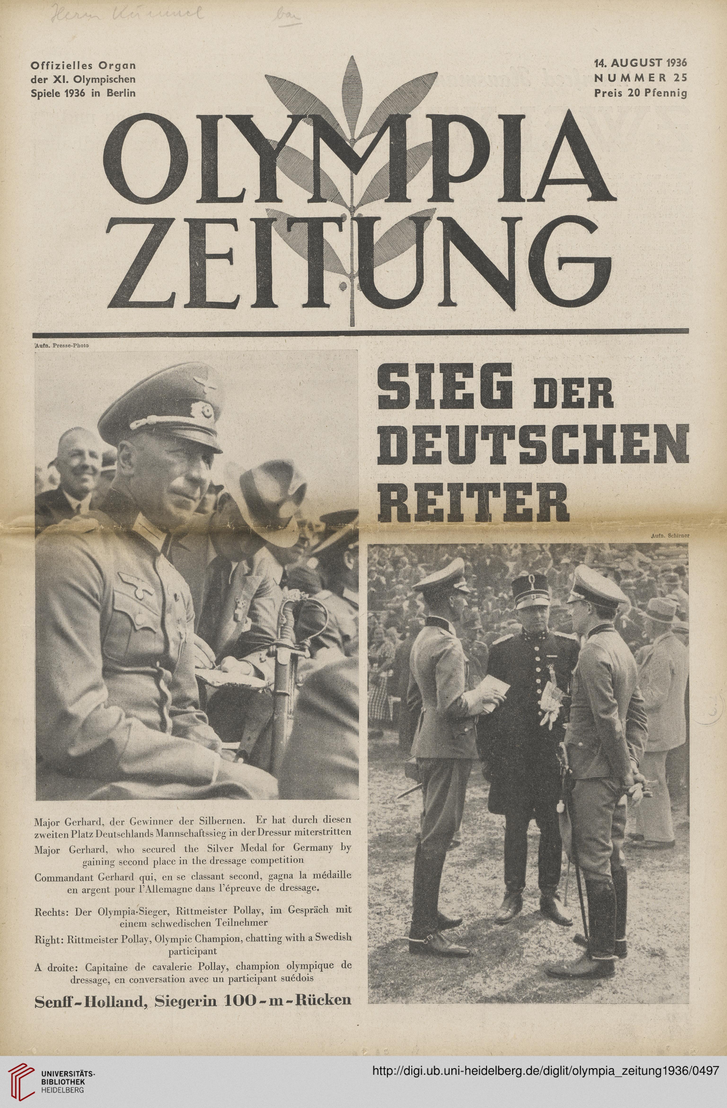 Olympia Zeitung Offizielles Organ Der 11 Olympischen Spiele 1936 In Berlin 1936