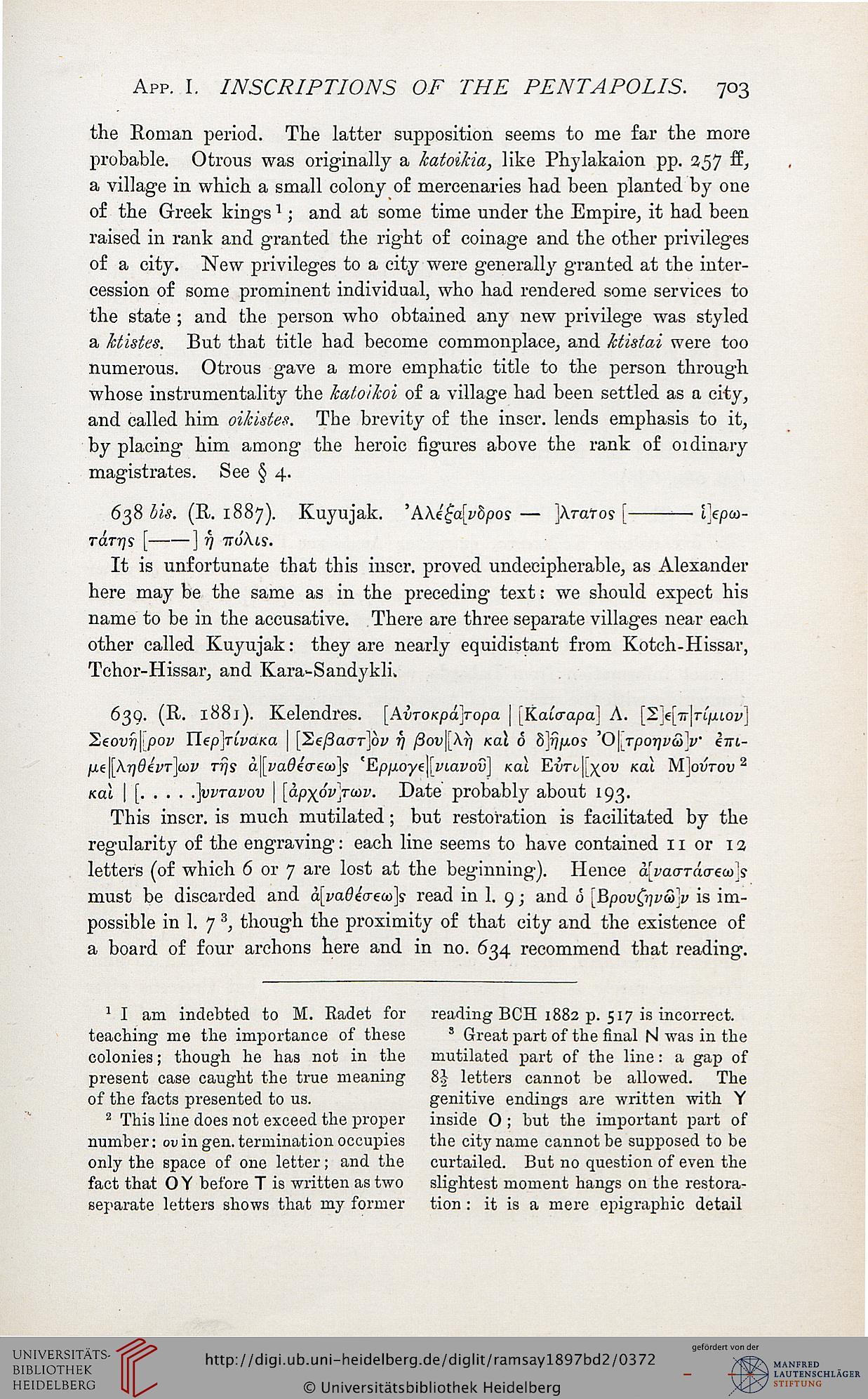 Ramsay, William Mitchell: The cities and bishoprics of
