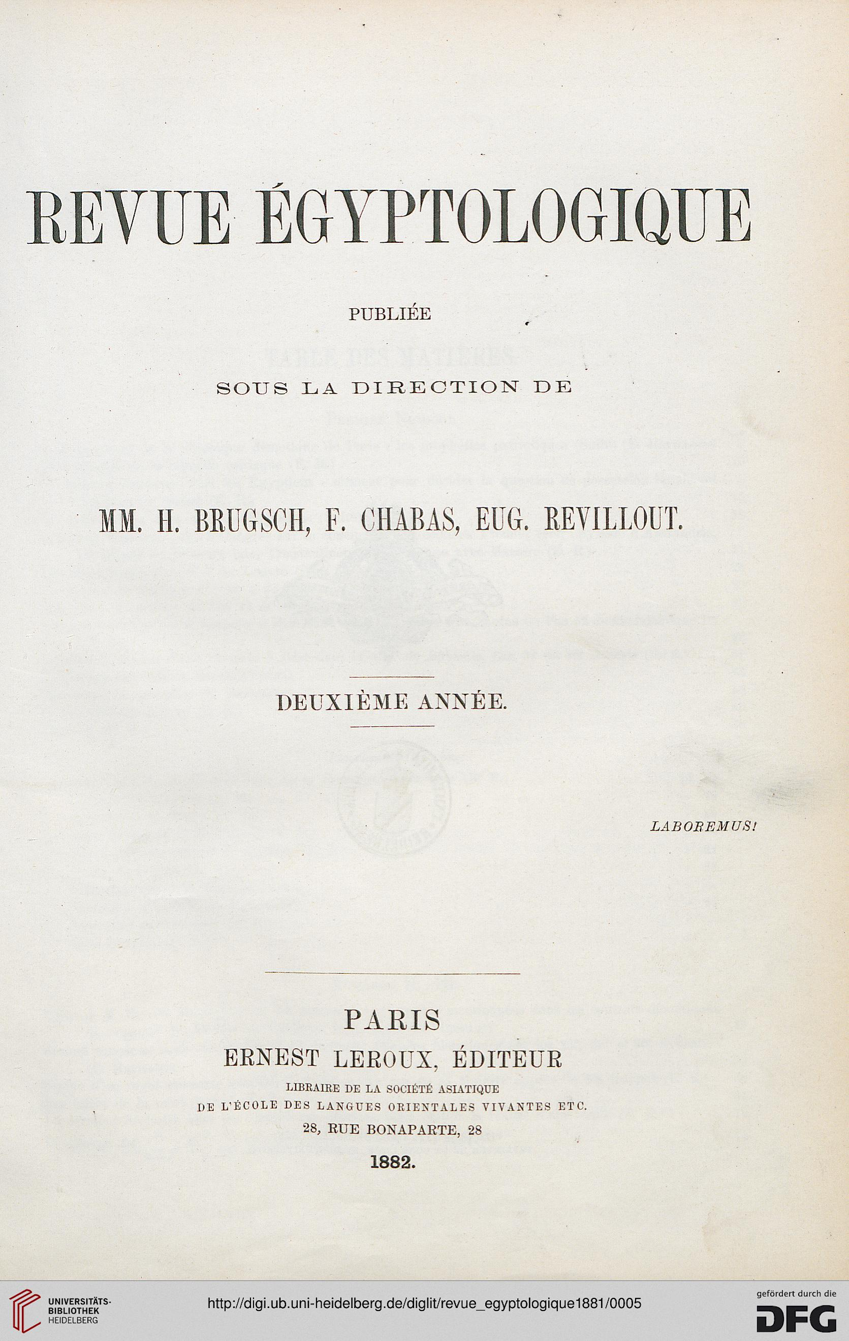 Revue Egyptologique 2 1881