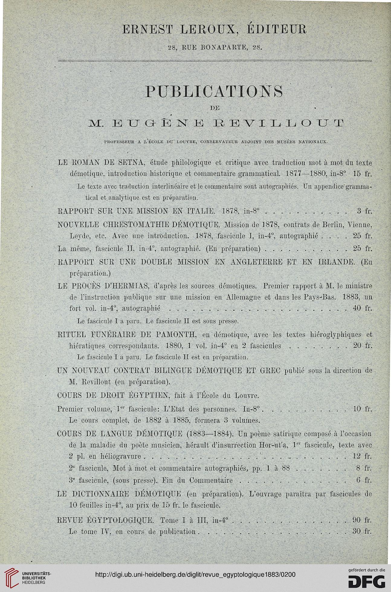 Revue Egyptologique 3 1883