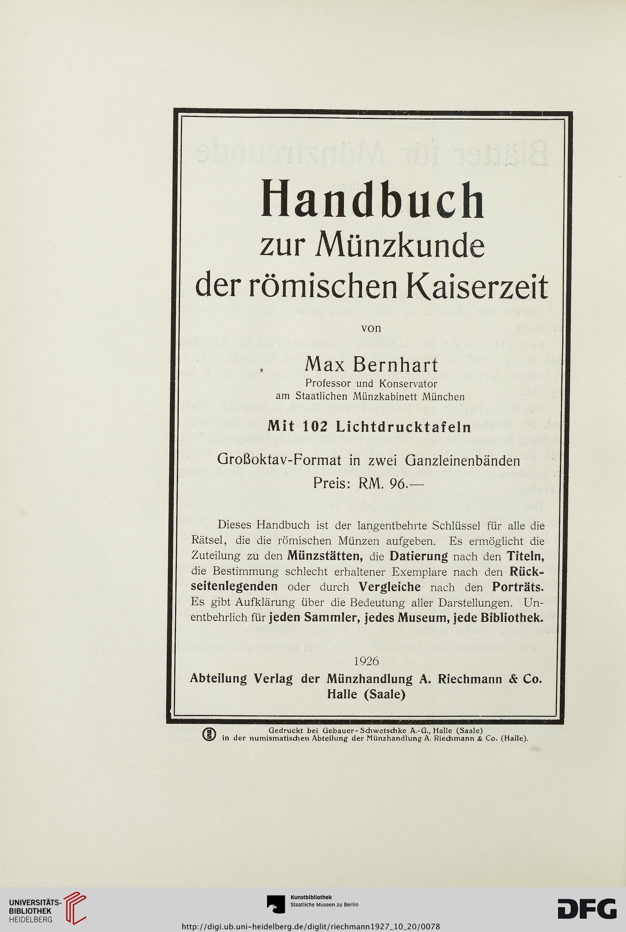 Münzhandlung A Riechmann Co Halle Saale Hrsg Medaillen