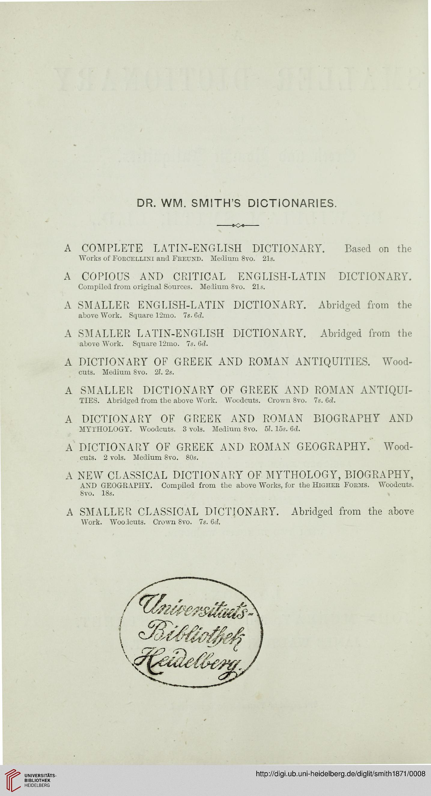 Smith, William: A smaller dictionary of Greek and Roman
