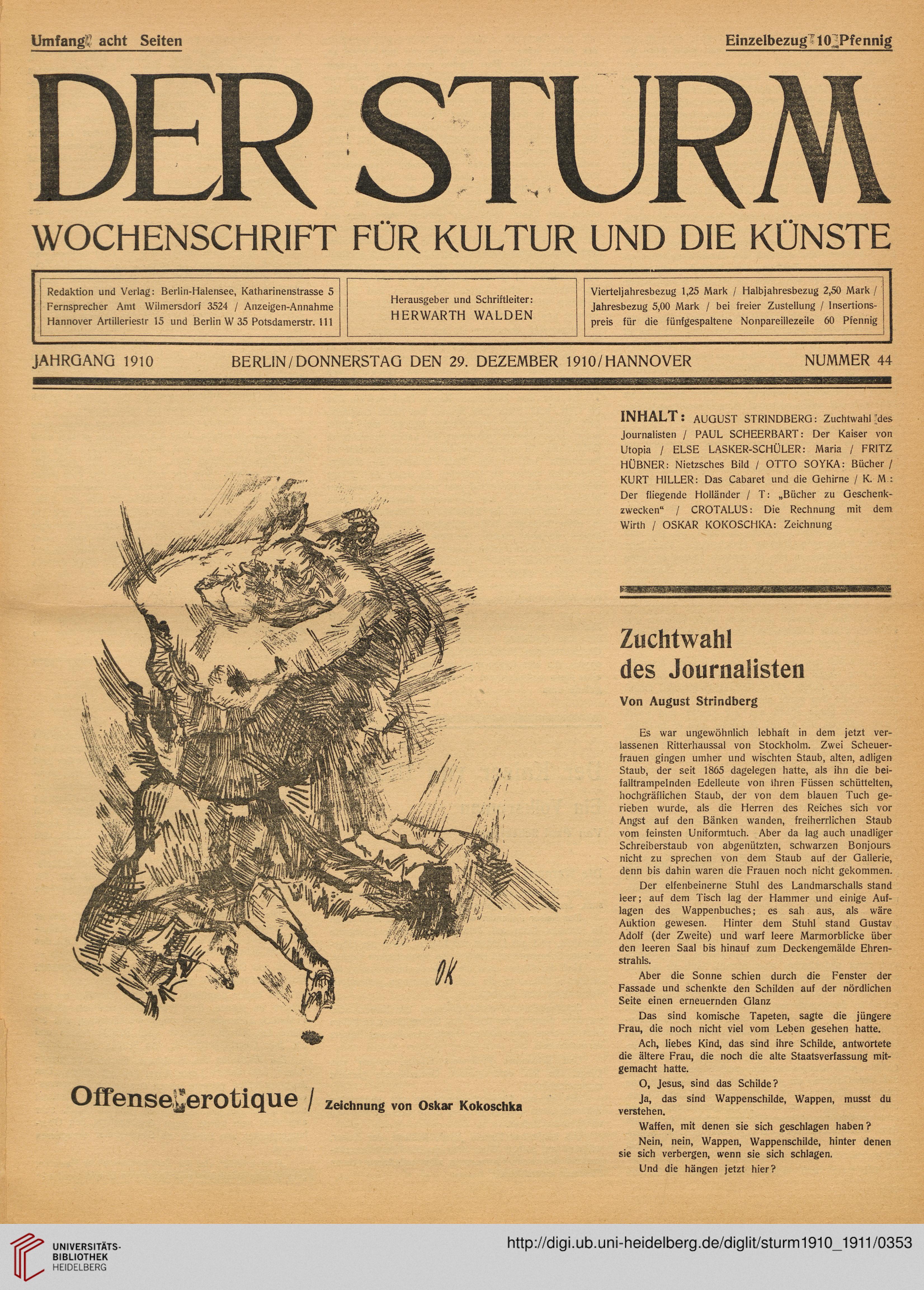 Der Sturm Monatsschrift Für Kultur Und Die Künste 11910 1911