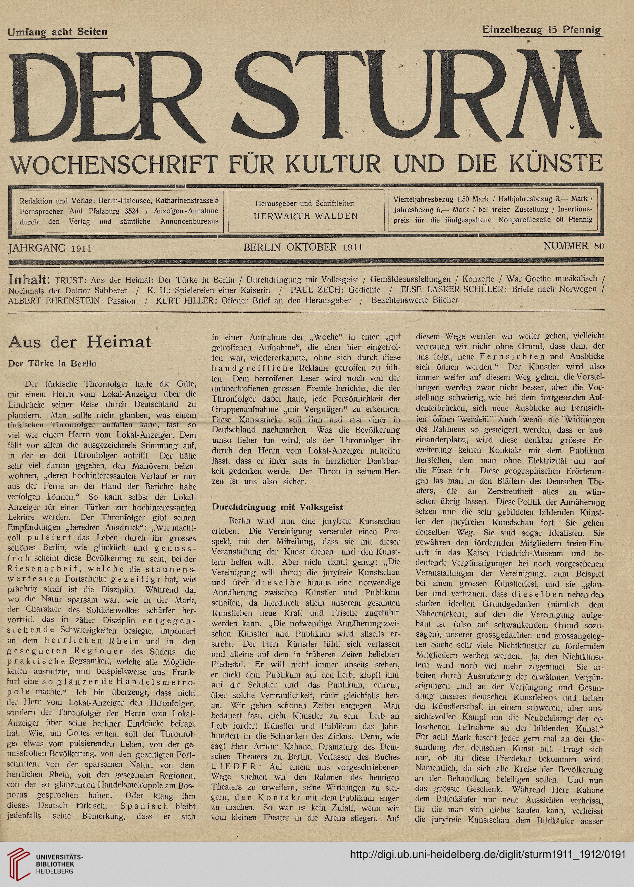 Der Sturm: Monatsschrift für Kultur und die Künste (2.1911-1912)