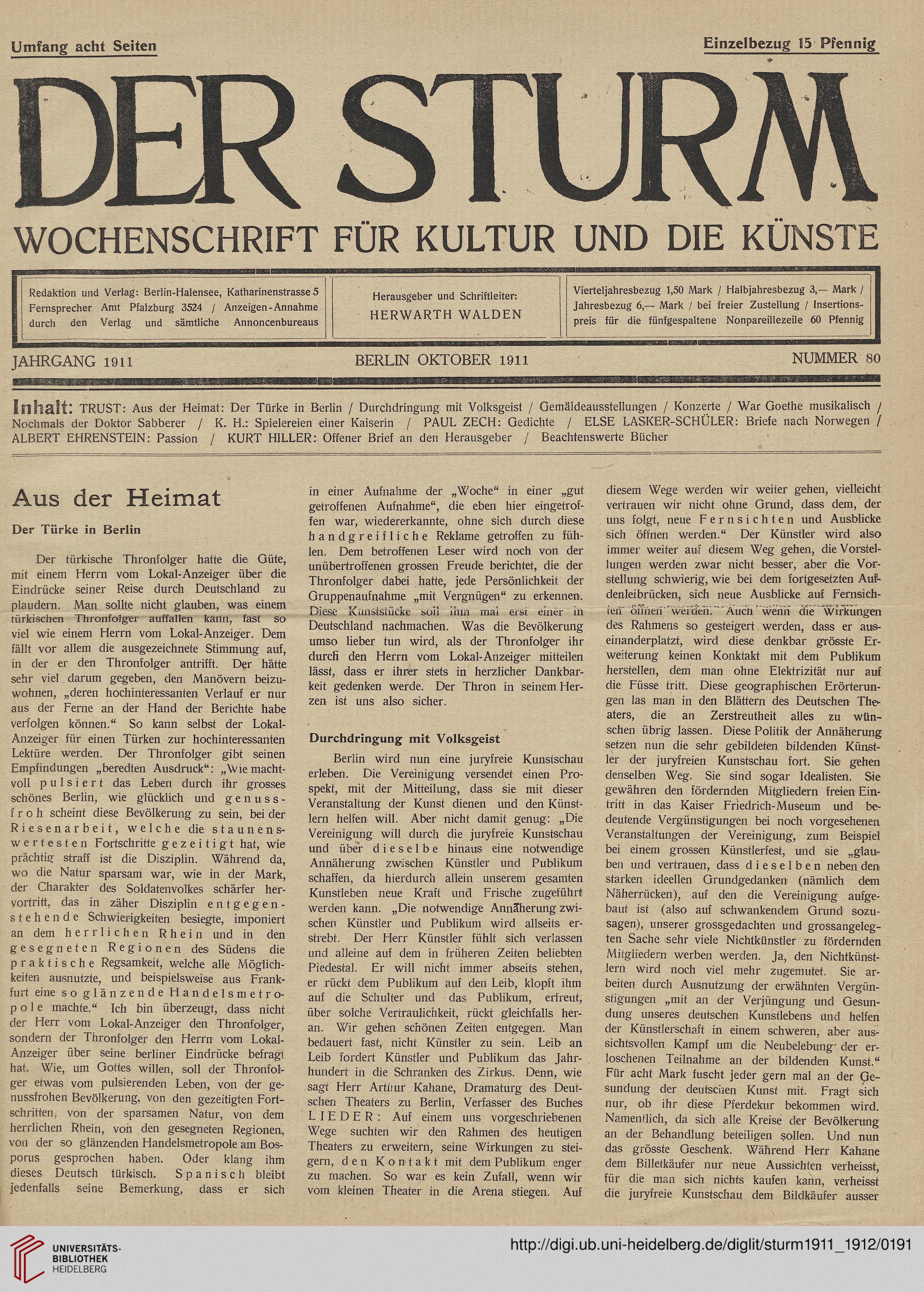 Der Sturm: Monatsschrift für Kultur und die Künste (2 1911-1912)