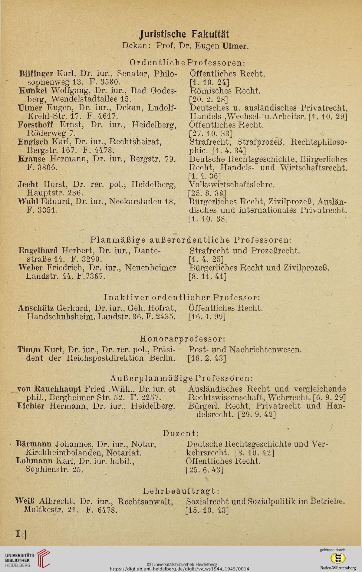 Heidelberg Vorlesungsverzeichnis