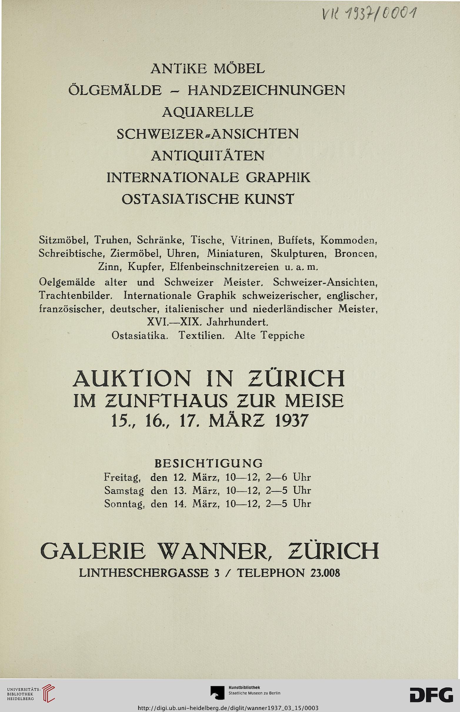Galerie Wanner Zürich Hrsg Antike Möbel ölgemälde