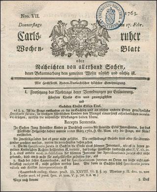 Carlsruher Wochenblatt 1763 Vd18 90370279