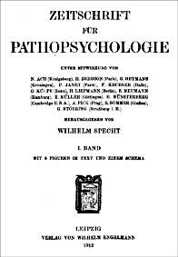 Titelblatt der Zeitschrift für Pahtopsychologie