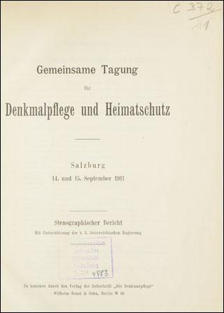 Gemeinsame Tagung für Denkmalpflege und Heimatschutz [Hrsg ...