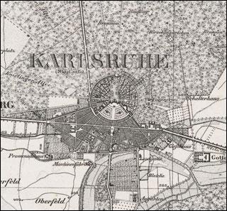 Karte Karlsruhe.Baden Topographisches Bureau Hrsg Winckens W Bearb