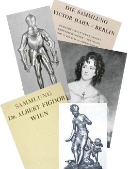 Foto-Montage: Ritterrüstung, Titelblatt Auktionskatalog, Gemälde, Titelblatt Auktionskatalog, Jugenstil-Figur