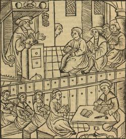 Zeichnung einer Lutherpredikt (Titelblatt einer digitalisierten theologischen Schrift)